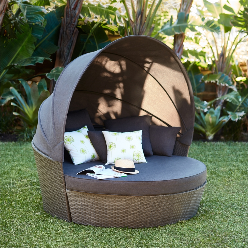 & Mimosa Waiheke Daybed with Canopy | Bunnings Warehouse