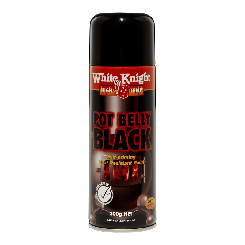 White Knight High Temp 300g Pot Belly Black Spray Paint Bunnings Warehouse