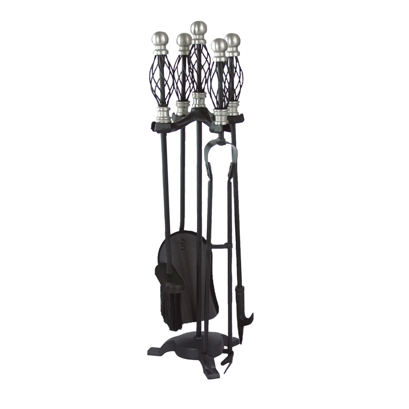 4 Piece Fire Accessory Tool Set With Stand