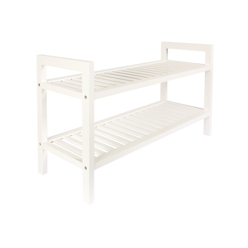 All Set 2 Tier White Wooden Shoe Rack Bunnings Warehouse