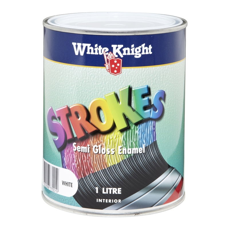 white knight strokes 1l white semi gloss interior paint i n 1560048 bunnings warehouse. Black Bedroom Furniture Sets. Home Design Ideas