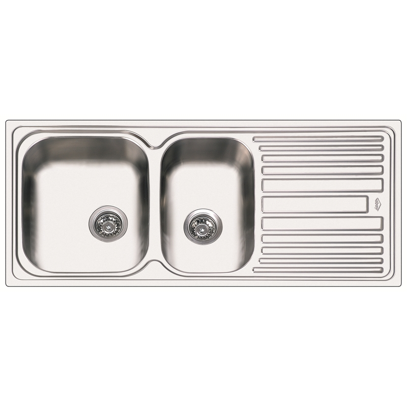 abey 1120mm 175 left hand bowl single drainer deluxe stainless steel sink - Abey Kitchen Sinks