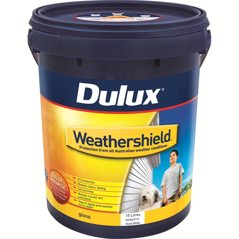 Dulux weathershield 15l gloss vivid white exterior paint bunnings warehouse - Exterior white gloss paint image ...