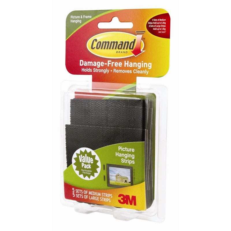 Command Black Large And Medium Picture Hanging Strips