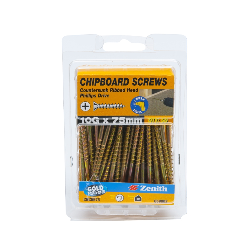 Zenith g mm countersunk ribbed head chipboard screws