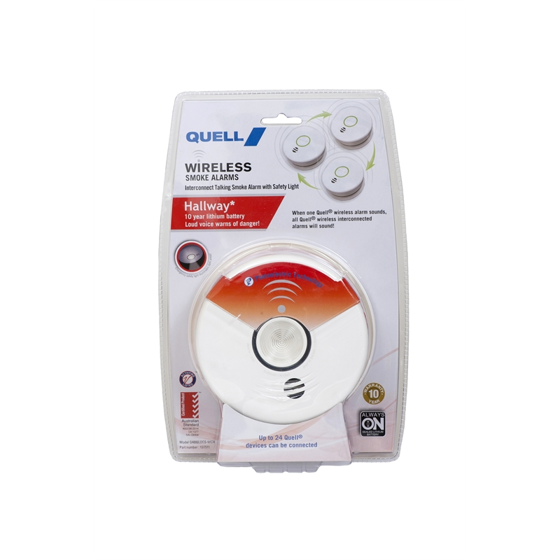 Quell Wireless Photoelectric Interconnect Hallway Smoke Alarm