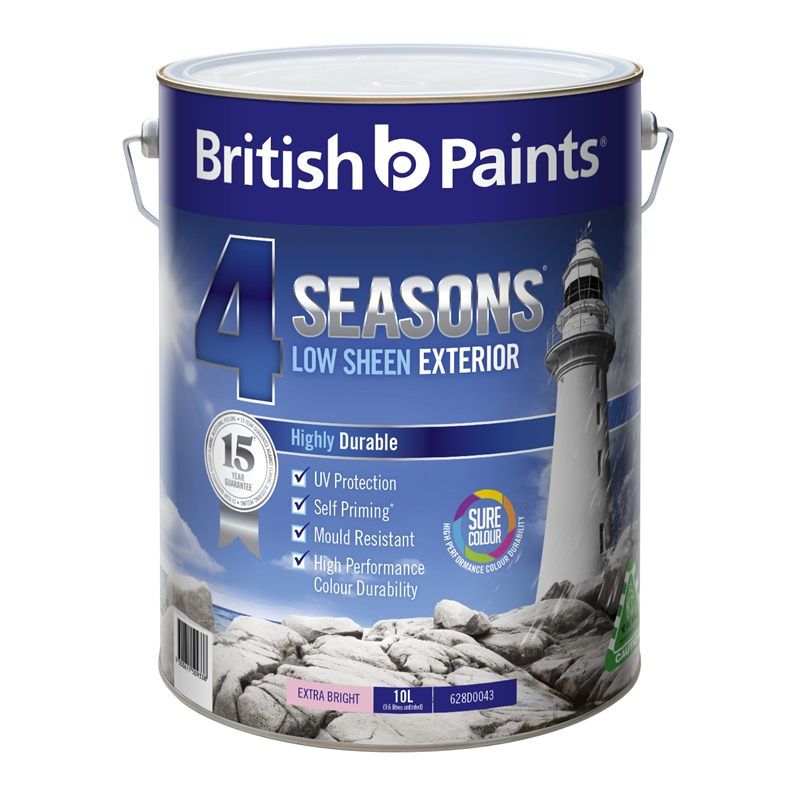 british paints 4 seasons 10l low sheen extra bright exterior paint i n. Black Bedroom Furniture Sets. Home Design Ideas