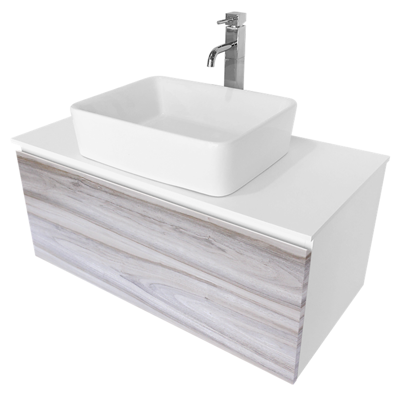 Cibo Design 900mm Cafe Oak Glee Vanity With White Basin
