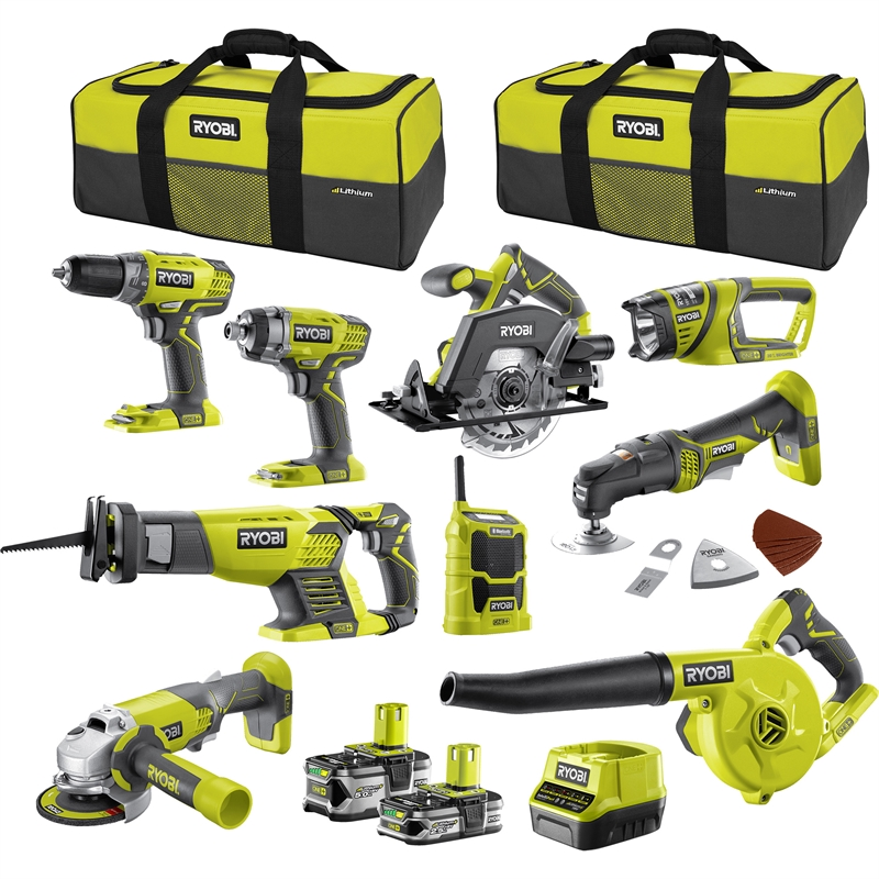 Details about RYOBI ONE+ 18V 9 Piece Mega Kit
