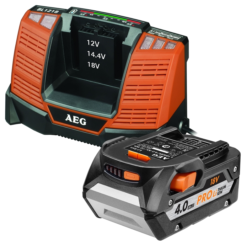 aeg 18v 4 0ah battery and charger pack bunnings warehouse. Black Bedroom Furniture Sets. Home Design Ideas