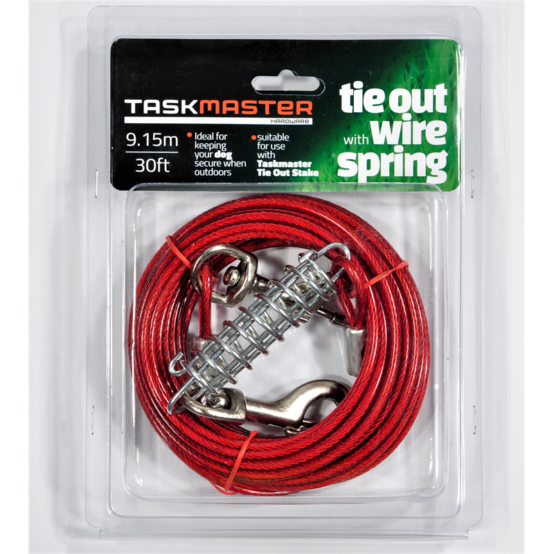 db1683c0a868 Taskmaster 5mm x 30ft Long Tie Out Wire with Spring | Bunnings Warehouse