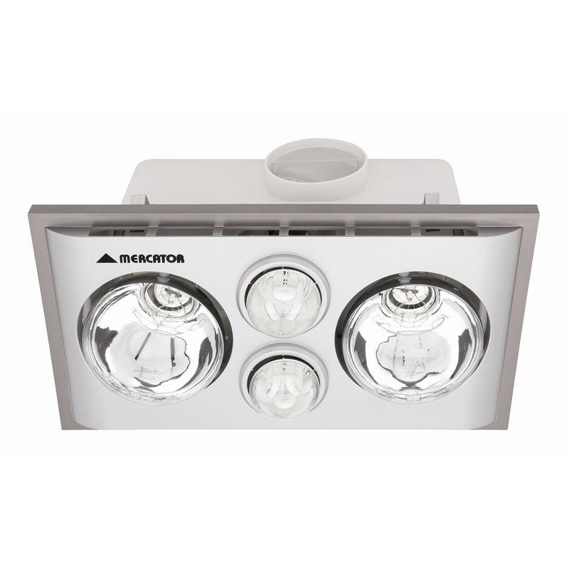 Mercator Lava Duo Silver Bathroom Heater And Exhaust With Light I/N 4441320