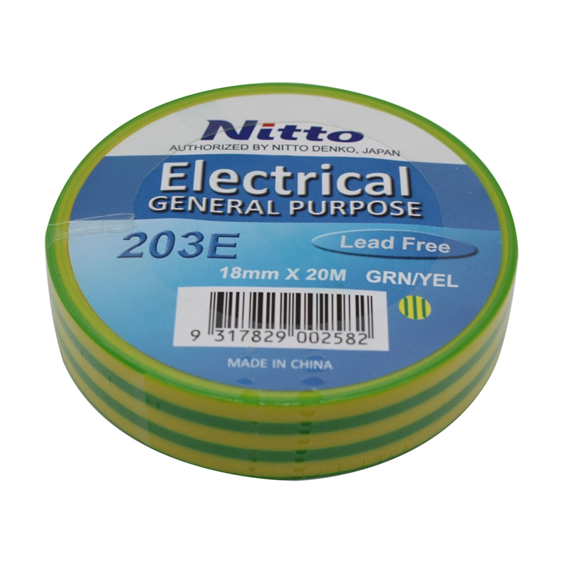 Nitto Denko 18mm x 20m Yellow and Green PVC Electrical Insulation Tape
