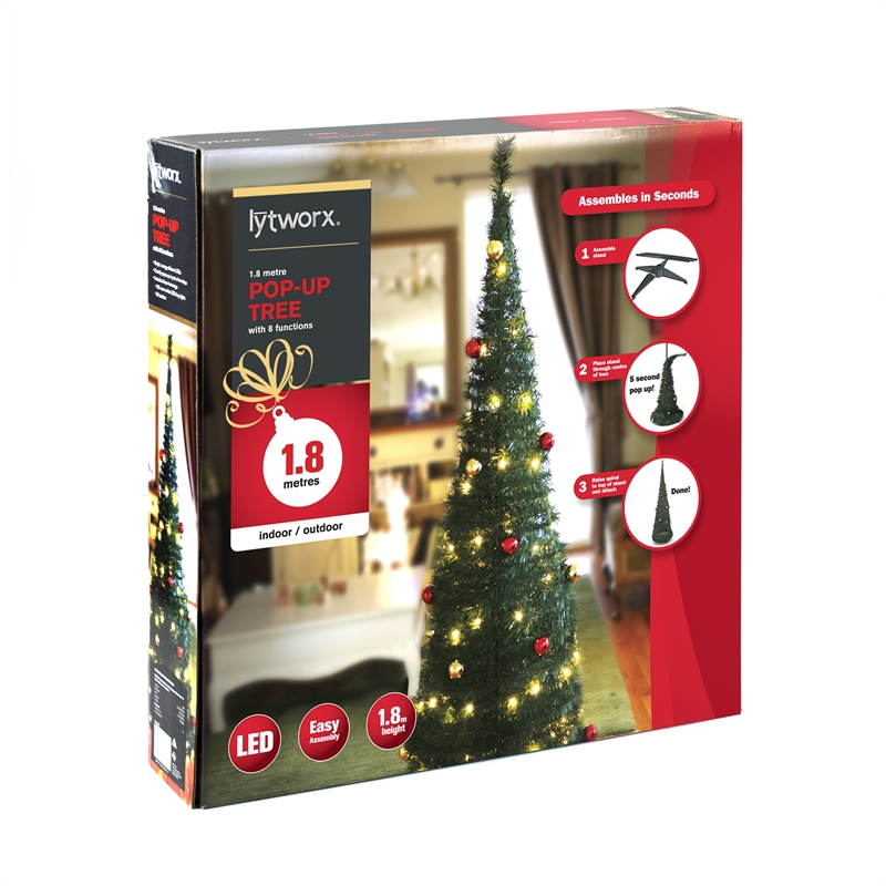 set up your pre lit and decorated 180cm tree in minutes complete with 100 warm white and multi function leds plus pre assembled baubles