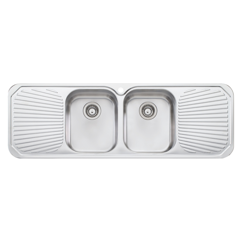 Oliveri 1430mm Double Centre Bowl Petite Sink | Bunnings Warehouse