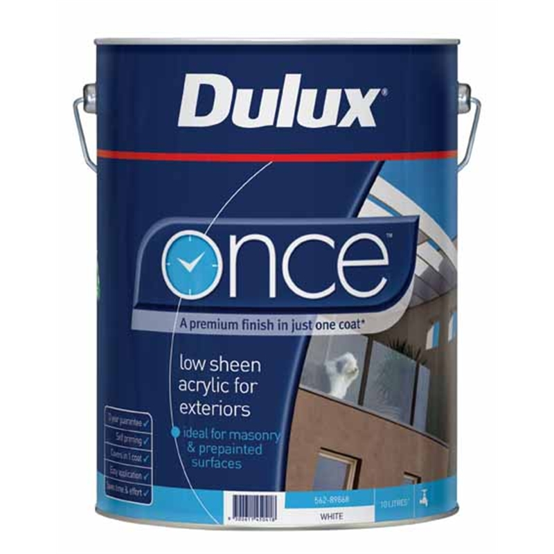 dulux once 10l low sheen white exterior paint i n 1400094 bunnings. Black Bedroom Furniture Sets. Home Design Ideas
