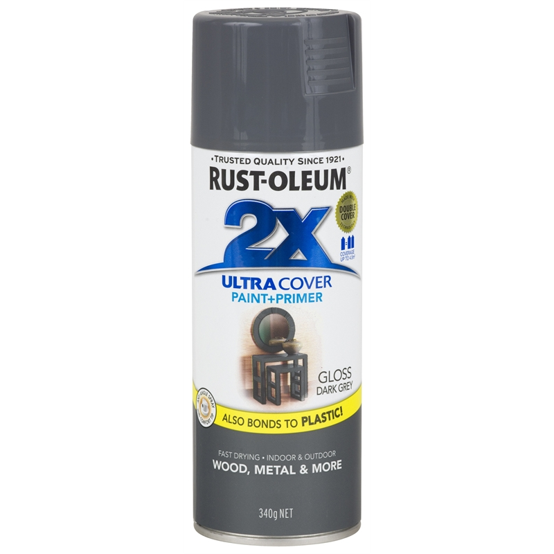 Rust Oleum 340g Ultra Cover 2x Gloss Spray Paint Dark Grey