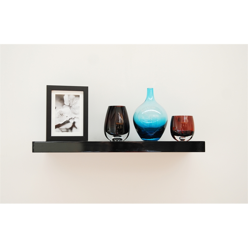 handy shelf 600 x 240 x 40mm black gloss floating shelf