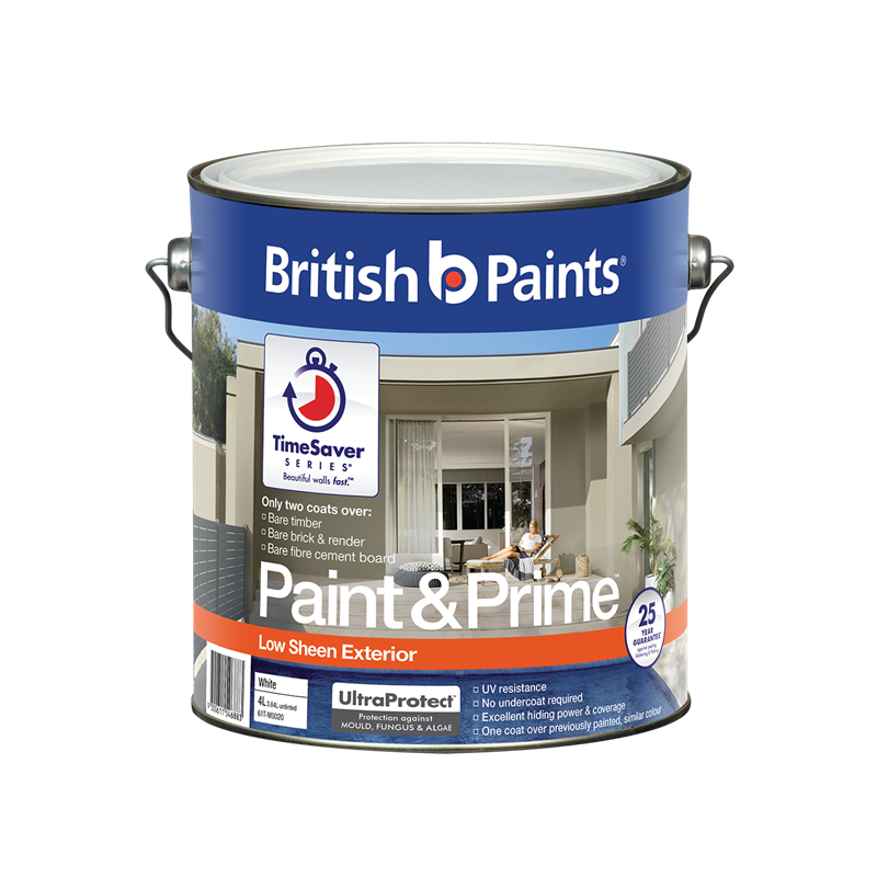 British paints 4l white low sheen paint prime exterior bunnings warehouse for What sheen for exterior house paint