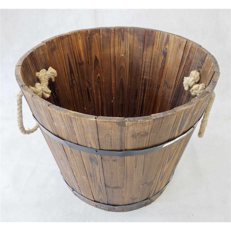 Lotus Collection Large Wooden Round Barrel Planter