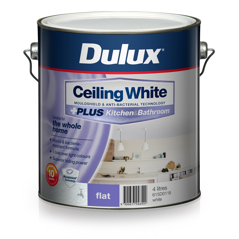 White Kitchen Emulsion dulux white ceiling +plus kitchen and bathroom paint - 4l