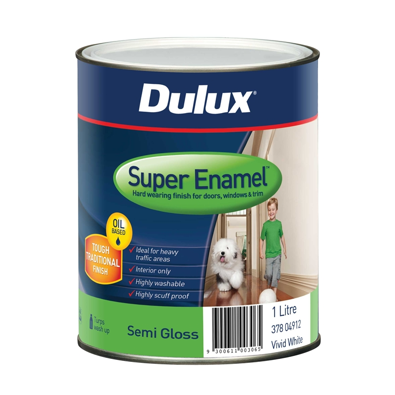 dulux super enamel 1l semi gloss vivid white enamel paint. Black Bedroom Furniture Sets. Home Design Ideas