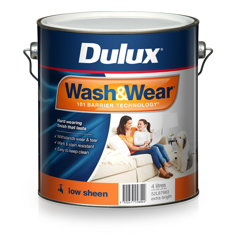 Dulux Paint And Wear Vivid White Sheen  Litre Can Water Base