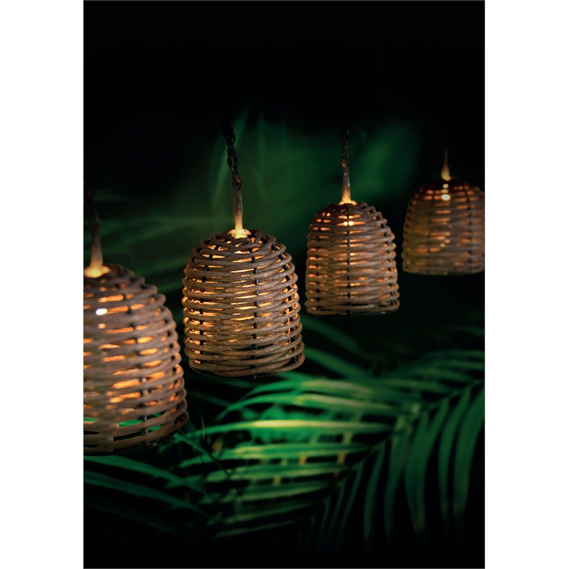 Eden 3.8m String Bell Rattan Solar Light I/N 4351471 Bunnings Warehouse