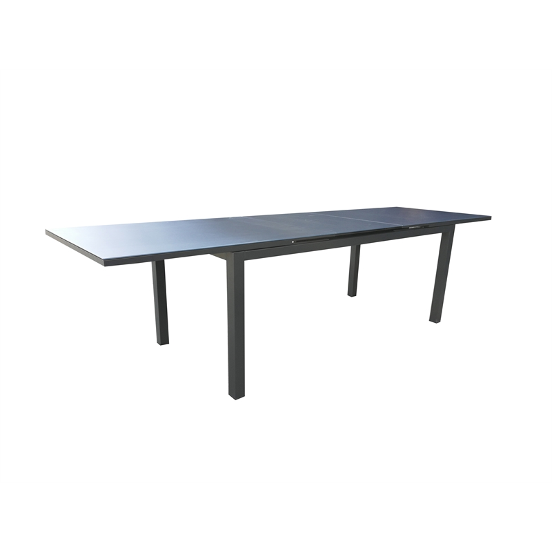Aluminium Lava Extending Glass Top Dining Table
