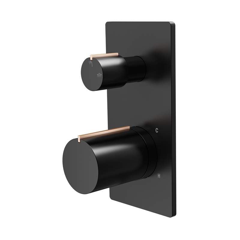 Signature Matte Black And Rose Gold Diverter Shower Mixer