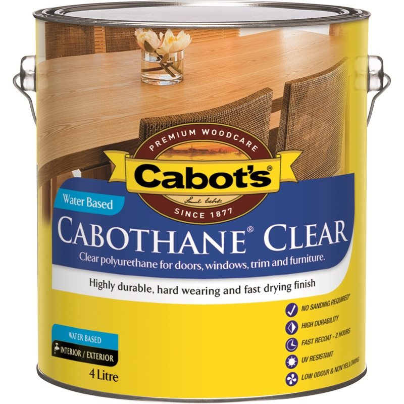 Cabot 39 s 4l gloss cabothane water based polyurethane varnish for Exterior polyurethane wood finish