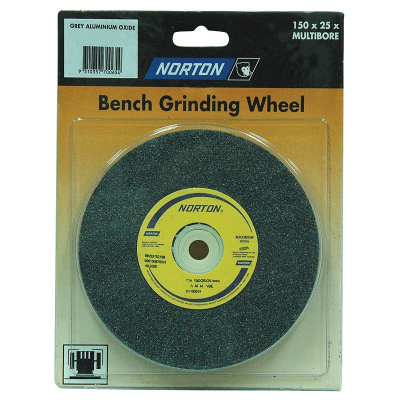 Norton 150 X 25mm Multi Bore Fine Bench Grinding Wheel