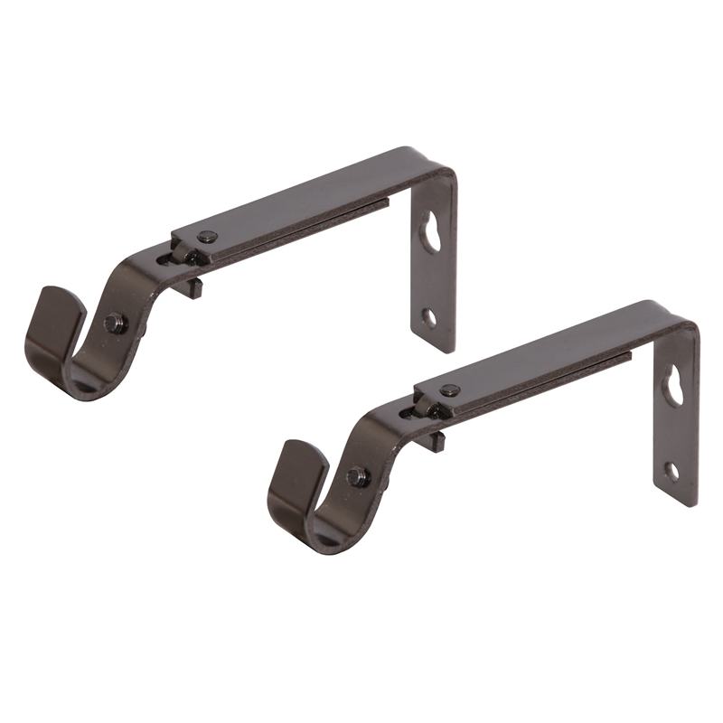 Pillar Products 105 150mm Adjustable Curtain Rod Bracket 2pk Shadow Chrome
