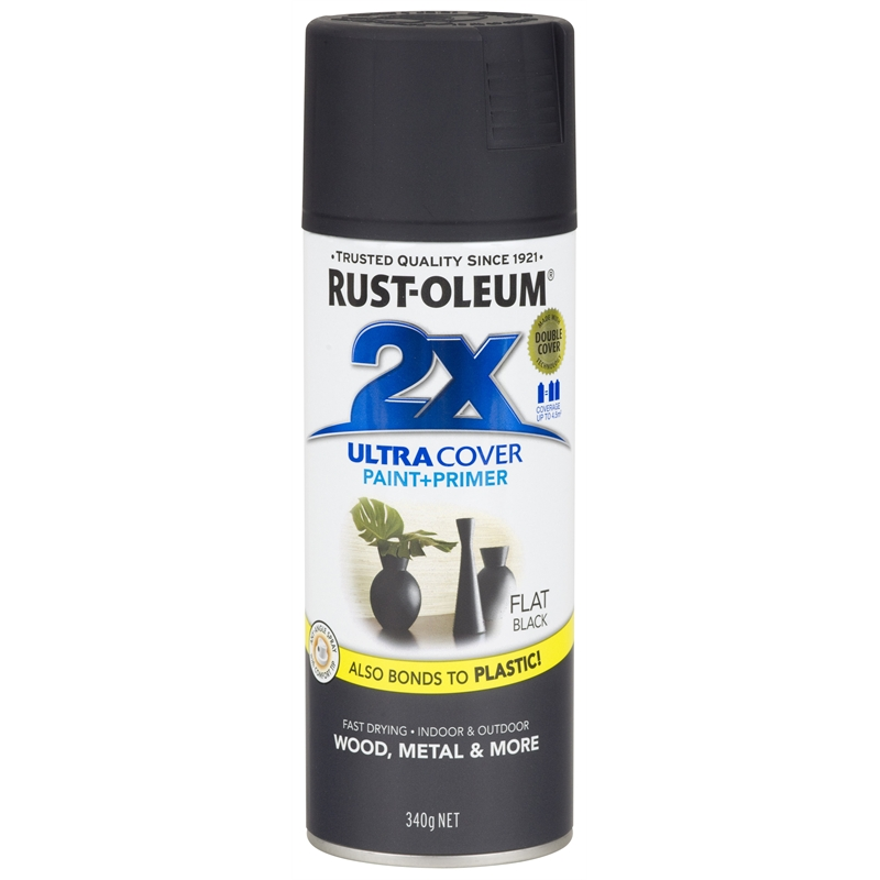 Rust-Oleum 340g Ultra Cover 2X Spray Paint - Flat Black