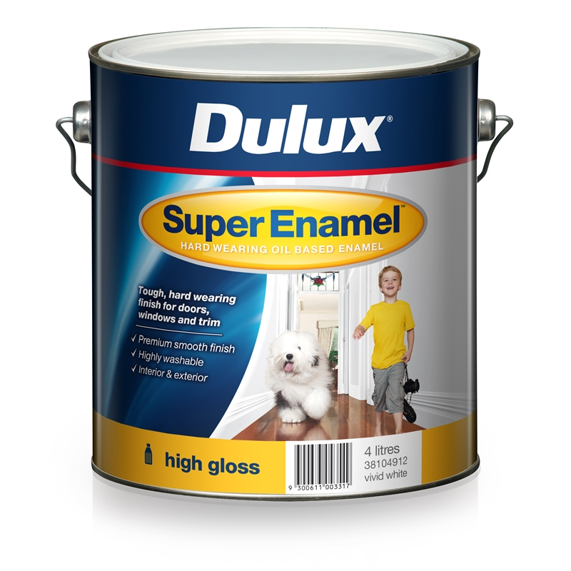 Dulux super enamel 4l high gloss vivid white enamel paint - Exterior white gloss paint image ...