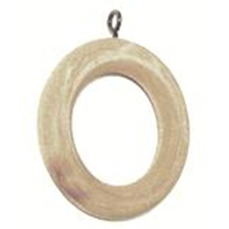 Smart Home Products 35mm Natural Wood Pole Curtain Rings 5 Pack