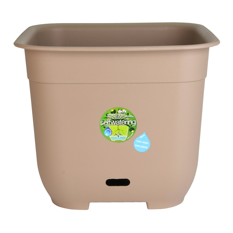 decor georgian 500mm latte self watering plastic pot i n