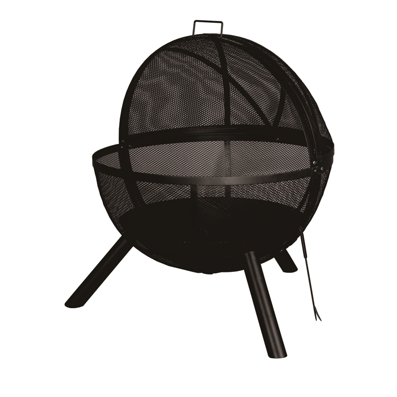 Round Fire Pit with Mesh Lid