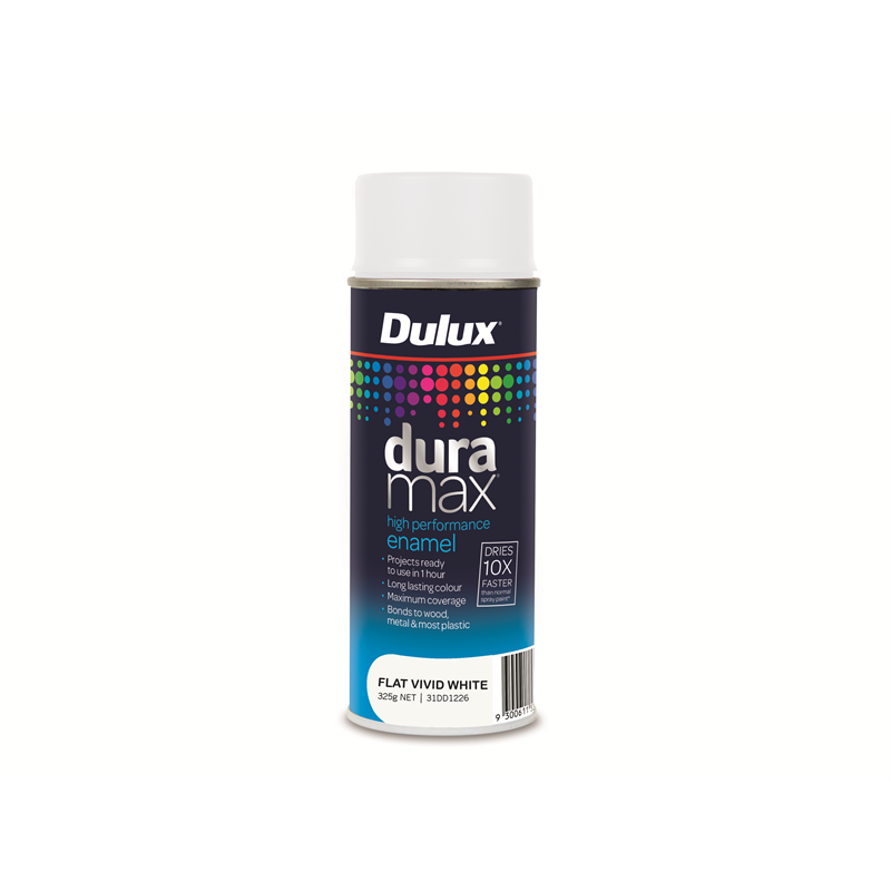 Bunnings Dulux Dulux Duramax 340g Flat White Spray Paint Compare Club