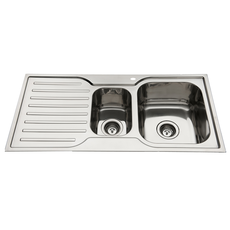 Everhard 980mm Squareline 1 And 1 2 Bowl Kitchen Sink With Drainer