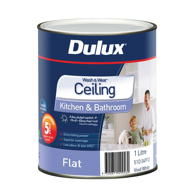 Dulux Wash&Wear Kitchen & Bathroom 1L White Ceiling Paint