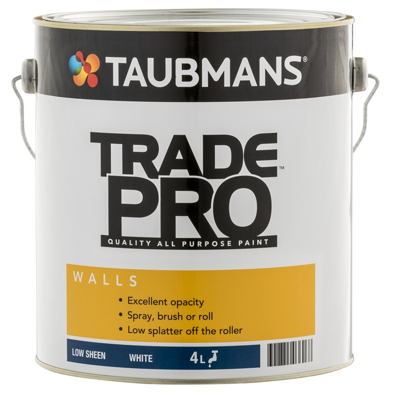 Taubmans Trade Pro L White Low Sheen Interior Wall Paint - Pro paint