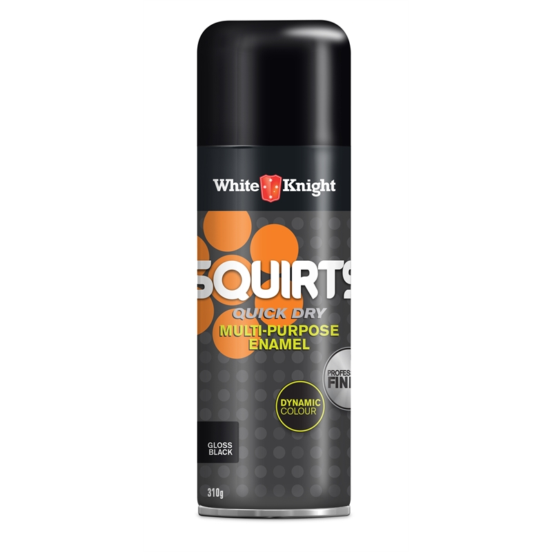 White Knight Squirts 310g Gloss Black Spray Paint Bunnings Warehouse