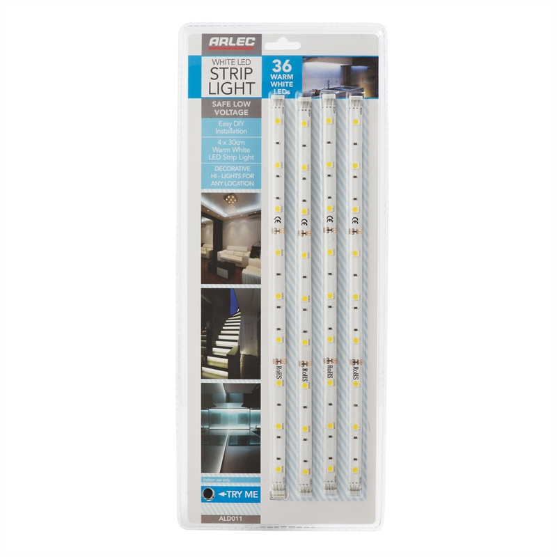 Bathroom Vanity Lights Bunnings arlec warm white led strip light - 4 pack | bunnings warehouse