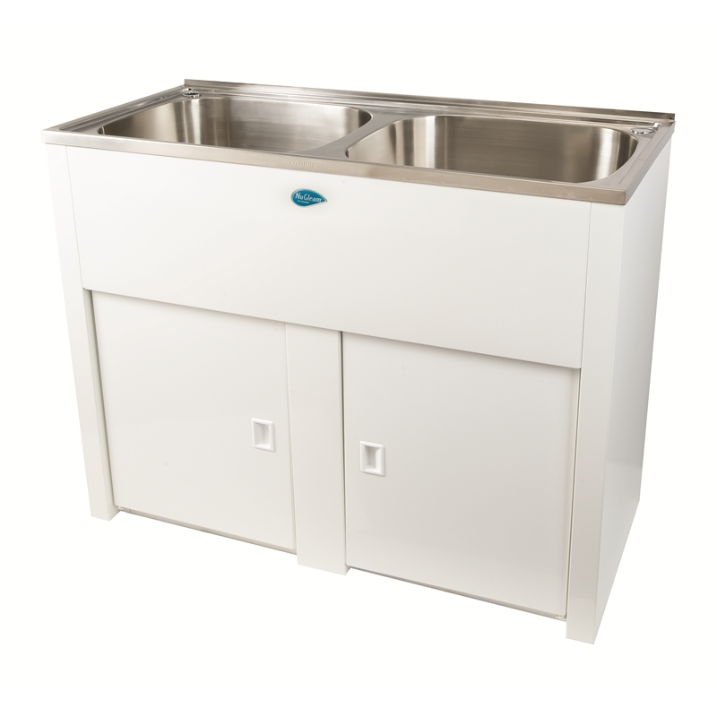 Everhard 45l nugleam double laundry trough and cabinet for Kitchen cabinets bunnings