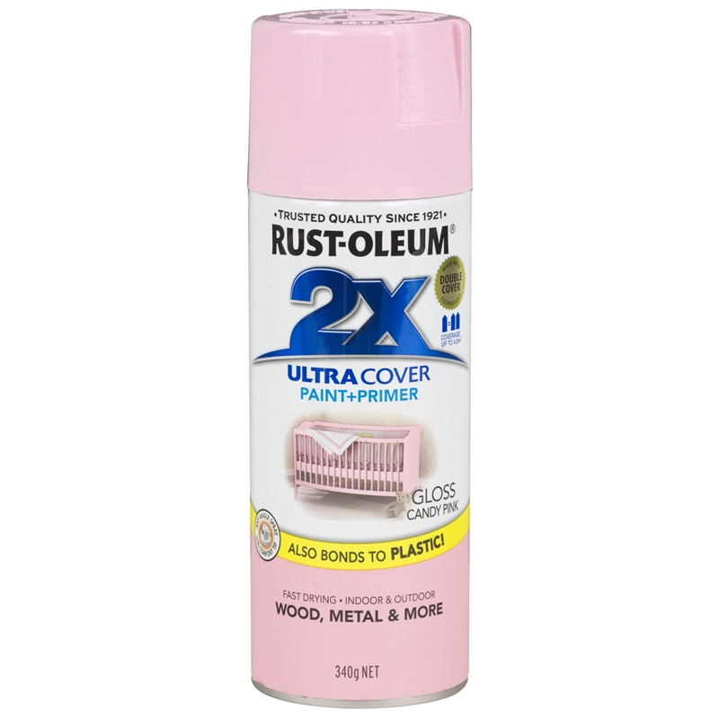 Rust Oleum 340g Gloss Candy Pink Ultra Cover 2x Spray Paint