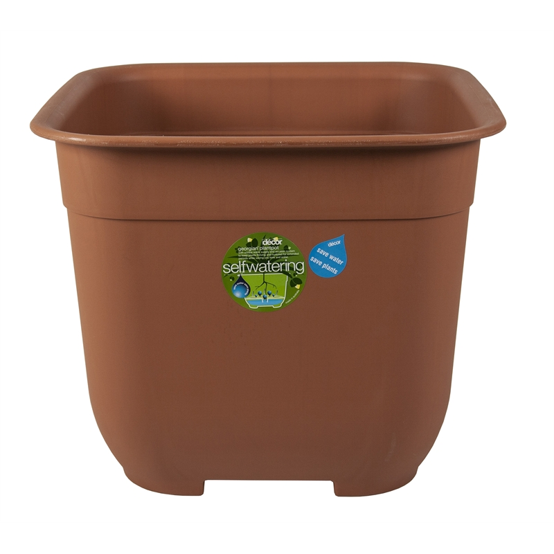 decor georgian 500mm terracotta self watering plastic pot