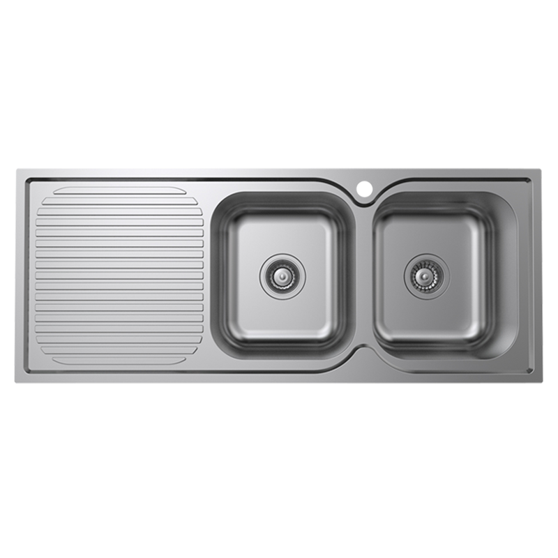 Cadenza 1180mm Right Hand Double Bowl Stainless Steel Sink With Drainer
