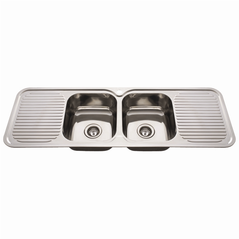 Everhard Mm NuGleam Double Bowl Kitchen Sink With Double Drainer - Double drainer kitchen sink
