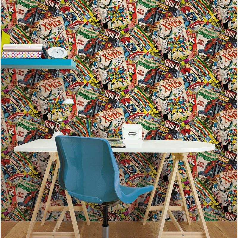 marvel comics cover story 52cm x 10m wallpaper bunnings warehouse. Black Bedroom Furniture Sets. Home Design Ideas